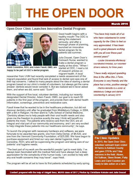 open door clinic newsletter 0316