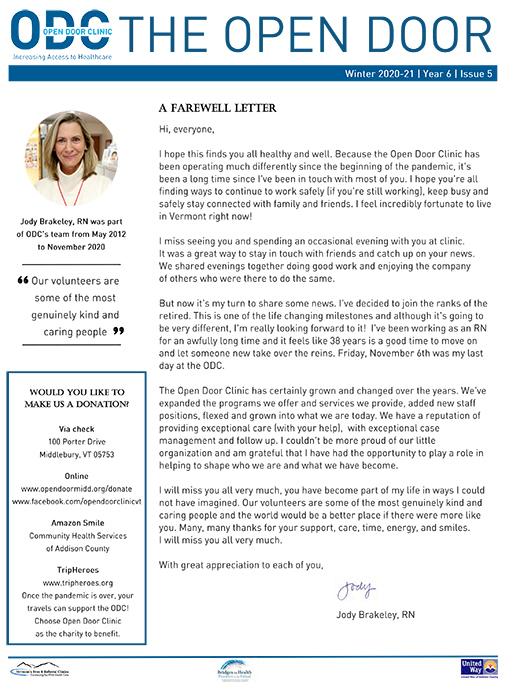20-21 Winter The Open Door Newsletter